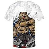 BaZhaHei Mode Männer Russische T-Shirt Bär 3D Gedrucktes Hemd T-Shirt Bluse Männer Eisbär Drucken Kurzarm