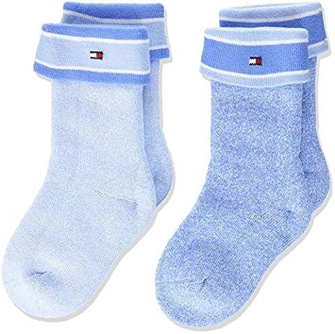 Tommy Hilfiger Baby-Jungen Socken TH Mouline 2P 2er Pack, Blau (Baby Blue 397), 15-18