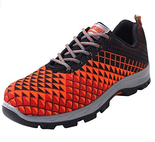 Sneaker Scarpe Uomo da Lavoro Antinfortunistiche Acciaio Sportive Scarpa Ginnastica Trekking Estive Arancione 35 EU