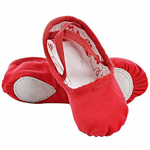 S. Lemon Doppelschicht Leinwand Ballett Tanzschuhe für Männer Mädchen Kinder Erwachsene Frauen in Weiß Schwarz Rot (25 EU, Rot)