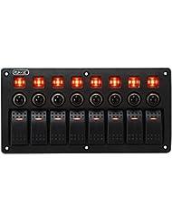 Rupse Panneau d'Interrupteur à Bascule Étanche LED Rouge 3 Broches avec Protection de Surcharge pour RV Voiture Bateau (8 Gang)