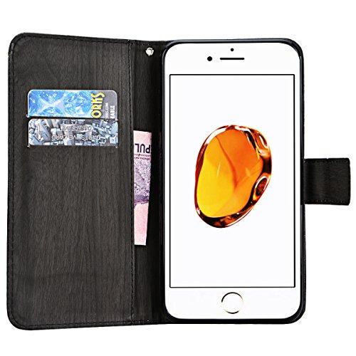 Coque iPhone 7 Plus , We Love Case Motif Attrapeur Rêve Étui Cuir de Haute Qualité PU Leather Pratique en Cuir Portefeuille Housse de Protection pour Apple iPhone 7 Plus Fermeture Magnétique Case Légè Noir