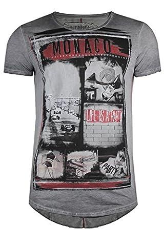 trueprodigy Casual Herren Marken T-Shirt mit Aufdruck, Oberteil cool und stylisch mit Rundhals (kurzarm & Slim Fit), Shirt für Männer bedruckt Farbe: Grau