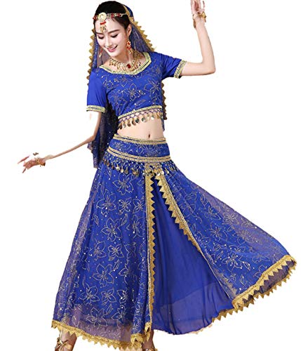 ZYLL RöckeBauchtanz Halloween KarnevalskostüM 4-Teiliges Set Bollywood Dance Adult Indian Dance KostüM,Blue,L