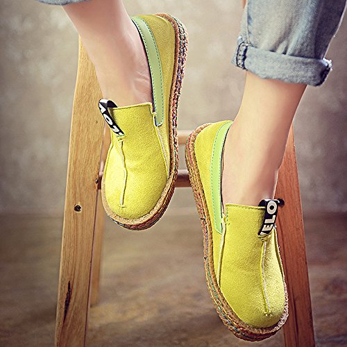 Custome Simili Cuir Femme Slip Sur Baskets Jaunes