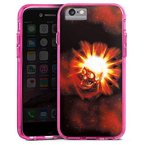 Apple iPhone X Bumper Hülle Bumper Case Glitzer Hülle Totenkopf Skull Schädel Bumper Case transparent pink
