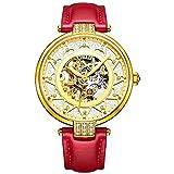 BUREI Damen Mechanische Skelett Automatikuhr Gold Gehäuse Uhr mit Kratzresistenter Saphirglas und Rot Lederband