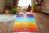 Rainbow Chakra alfombrilla de playa mandala Yoga toallas con borlas tapiz rayas yoga mats 150cmx75cm