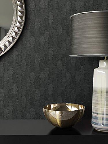 Tapete Schwarz Vlies in Stoff-Optik | schöne, moderne, edle Tapete im Grafik-Design | für Wohnzimmer, Schlafzimmer oder Küche inklusive Newroom Tapezier-Profibroschüre mit Tipps für perfekte Wände (Schwarz Grafik)