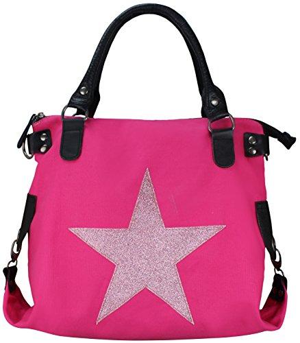 Damen FASHION Handtasche Sterne Canvas TOP TREND Tragetasche (Glitzer Stern Neon Pink)
