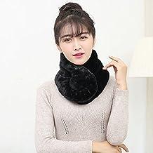 EQLEF® Negro elegante de la piel del conejo sintética suave collar bufanda caliente