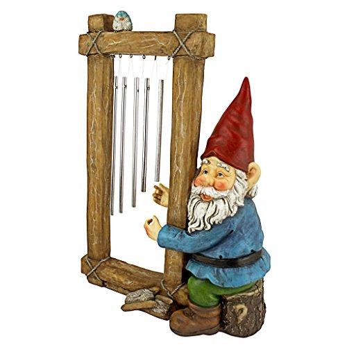 Design Toscano Gartenfigur Gartenzwerg mit Glockenspiel, mehrfarbig, 11,5 x 25,5 x 35,5 cm, HF5152401