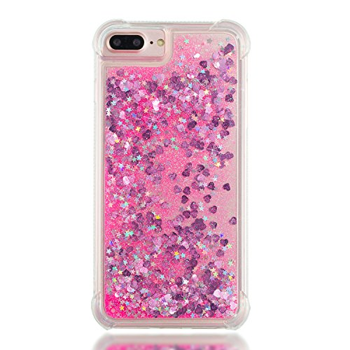 3C-LIFE iPhone6 Plus [1Case + 1Holding Strap] Cute Shiny Luxury Floating Glitter Case Girls Women Sparkle Bling Quicksand Liquid Cover Clear TPU Bumper Case for iPhone6 Plus (Pink) (Iphone6 Bling Plus Cover)