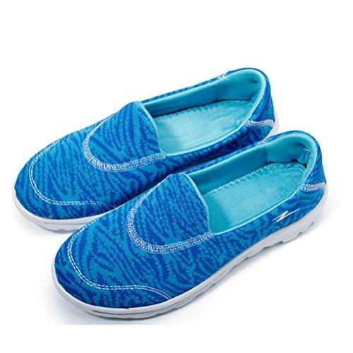 on Damen Einfache Neue Mokassins Dicke Sportliche streifen Zebra Sneakers Atmungsaktive Lässige Blau Mesh Slip Schüttelne Sohle wBwq8rA