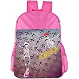 Skeleton With Skateboard Jumping Kids School Shoulder Backpack Bag Children Bookbag - B074H12P86