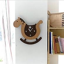 YFF ~ Reloj de pared Sala de niños de dibujos animados creativos Columpio reloj de caballo de madera, con números árabes huecos Estilo de América Moda moderna Sala de estar creativa de arte de la personalidad Reloj de decoración de pared para niños (tamaño: L38 * H35cm) Regalos de vacaciones regalos de amigos