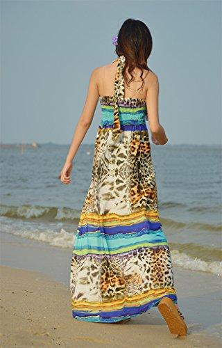 Smile YKK Femme Fashion Robe Longue Bohême Moulante V Col Casual Tie-Dye Jaune