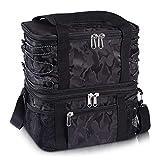Estarer Sac Repas Isotherme Portable Sac à Déjeuner Noir 2 Compartiments Travail Pique-Nique Camping, Sport