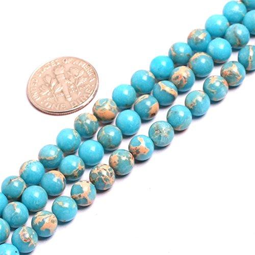 SHG-Shop Perlen Herrliche Crazy Lace Achat-Edelstein Runde Lose Korn Approxi 15 inch Pro Strang Für Schmuckherstellung(6mm, Ozean Blau) - Ozean-blau-korn