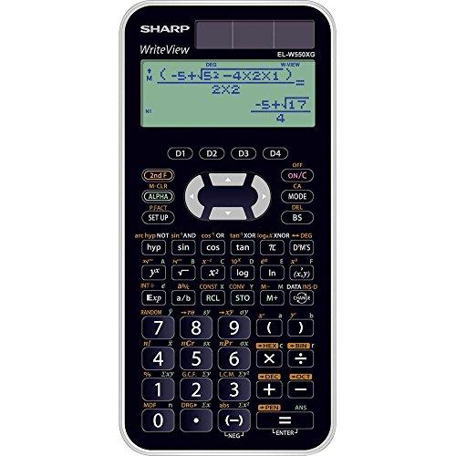 Sharp EL-W550XG Wissenschaftlicher Schulrechner (4-zeilige Anzeige, 335 Funktionen, D.A.L.-Eingabe) schwarz