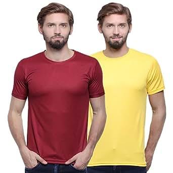 Goindiastore maroon and yellow round neck t-shirts combo