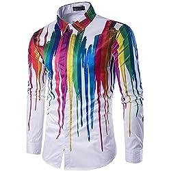 LIUXING-TUMI Geek para Hombre Psychedelic Splash-Ink Impreso en Forma de Cuello de Solapa de Manga Larga con Botones Camisa de Caballero Talla M L XL XXL 3XL (Color : Multicolor, tamaño : L)