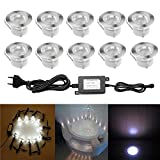 10pcs Luz LED Foco empotrable al Aire Libre 1W IP67 Impermeable Iluminación para Exterior Jardín Patio Césped Paisaje (Blanca Frío)