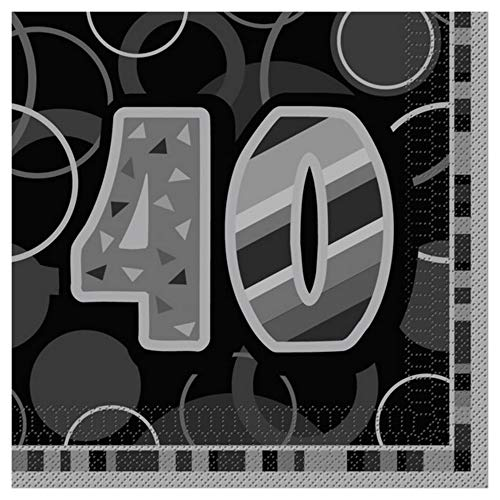 Unique Party Papierservietten 40th Birthday (Einheitsgröße) (Schwarz)