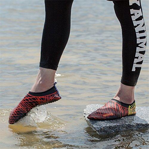 Unisex Strandschuhe Aquaschuhe Breathable Schlüpfen Schnell Trocknend Schwimmschuhe Surfschuhe für Damen Herren Kinder Baby Rot