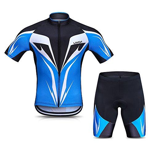 Lixada Herren Radtrikot Set, Atmungsaktiv Quick-Dry Kurzarm Radsport-Shirt + Gel Gepolsterte Shorts, (Blau, XL)