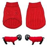 Hundepullover Strickpullover Hundepulli Hundebekleidung Hunde Pullover Rot (M) - 4