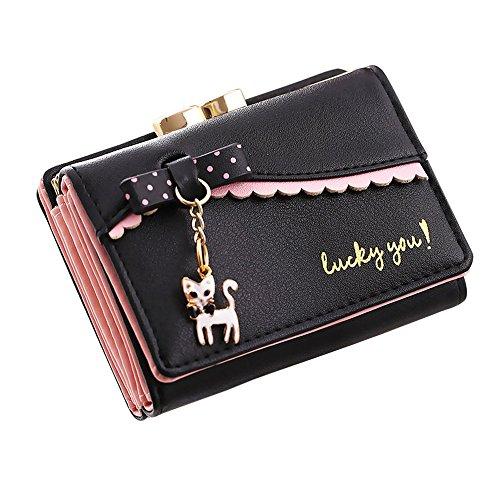 Piebo_Schuhe & Handtaschen Mini Brieftasche Clutch Piebo Frauen Kurze Trifold Kleine Portemonnaie mit Katze Anhänger Damen Leder Brieftasche Münze Geldbörse Kartenhalter (Schwarz) -