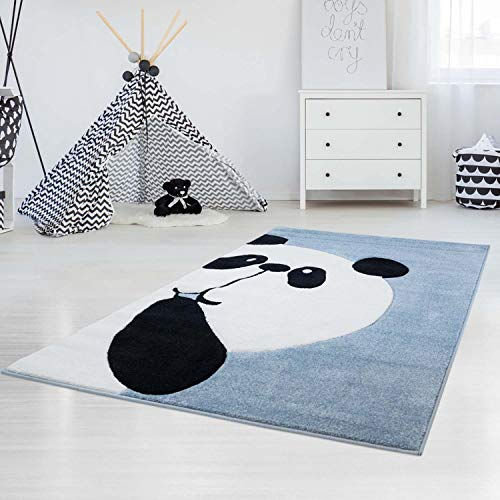 carpet city Kinderteppich Hochwertig mit Panda-Bär in Pastell-Türkis mit Konturenschnitt, Glanzgarn für Kinderzimmer Größe 140/200 cm
