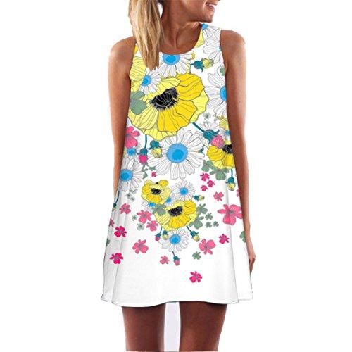 Damen Ärmellos Sommerkleid Minikleid Strandkleid Partykleid Rundhals Rock Mädchen Blumen Drucken Kleider Frauen Mode Kleid Kurz Hemdkleid Blusekleid Kleidung (Weiß 12, S)