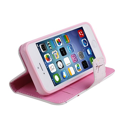 iPhone 5 Tasche - Felfy Apple iPhone 5S 5 Handy Zubehör Luxus Bling Diamont Flying Blau Schmetterling Muster PU Leder Wallet Case Holster Schutz Hülle + 1x Blue Stylus + 1x Displayschutzfolie Dancing Girl