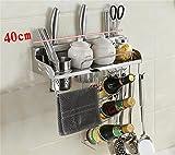 LCHEGG Scaffale della Cucina dell'Acciaio Inossidabile/scaffale della Spezia della Parete/scaffale di stoccaggio/Blocchetto del Coltello/organizzatore della mensola della Cucina