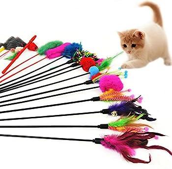 Ruikey Jouets en plumes pour chats Bells Feather Teaser Wand Peluche et Plastique Aléatoire Couleur 51cm 4 Pack