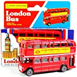 London Red Bus (Small) - Double Decker Red Bus Model Made of Die Cast Metal and Plastic Parts