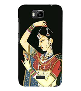 Rajasthani Girl Painting 3D Hard Polycarbonate Designer Back Case Cover for Huawei Honor Bee :: Huawei Honor Bee Y5c