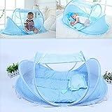 Missley Foldable Baby Multifunktions-Crib Cradle Anti-Bug Zelt Moskitonetz mit Matratze Kissen für Kinderzimmer Bett Krippe Baldachin Reise Beach Park (blue)
