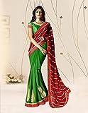 Ankit Fashions Red Embroidery Faux Georgette Sari Amazon