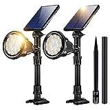 JSOT Solarlampen für Außen - Solarleuchte Garten 2 Stück 18 LED IP65 Wasserdichte Solarstrahler Aussen 2 Beleuchtungsmodi Solarscheinwerfer für Sträucher,Außenmauer,Gehwegen,Garage (Gelbes Licht)