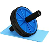 REEHUT Abdominal Exercise Roller - Dual Wheel with Foam Handles - Extra Knee Pad Mat - Body Fitness Strength Training Machine AB Roller Wheel Gym Fitness