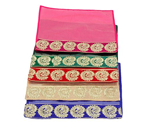 Kuber Industries Designer Zari Border Flip Saree cover set of 5 Pcs