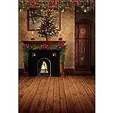 YongFoto 2x3m Navidad Fondo Hogar Árbol de Navidad Decoración Antiguo Reloj de Pared Magnífico...