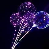 Tatis Zuhause Dekoration LED Leuchtlaterne Ballon mit Leuchtballon Wiederverwendbare Leuchtende Ballon Transparente Runde Blase Dekoration Party Hochzeit Ohne Batterie 3 Lichterketten 6 Handstäbe