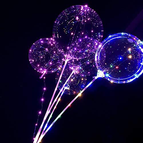 Tatis Zuhause Dekoration LED Leuchtlaterne Ballon mit Leuchtballon Wiederverwendbare Leuchtende Ballon Transparente Runde Blase Dekoration Party Hochzeit Ohne Batterie 1 Lichterkette 2 Handstäbe