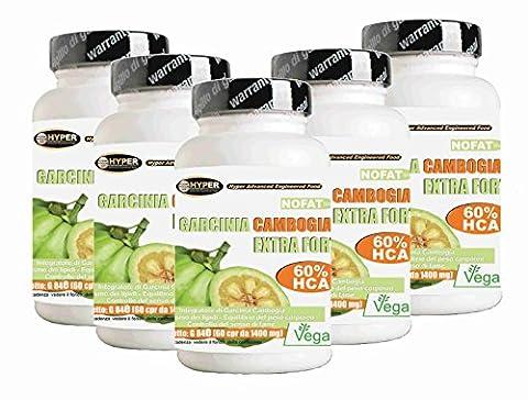 Garcinia | Fat Burner - favorise la perte de poids | 5 Box x 60 comprimés | 1000 mg par comprimé! 60% de HCA | Fat Burning puissant - lutte contre la faim - réduit appétit | Il aide à drainer | 1 paquet 2 mois de traitement | Comprimés sans gluten - 100% naturel et végétalien.