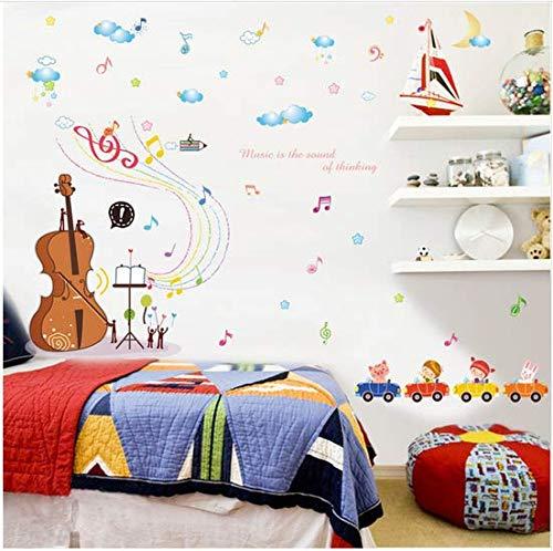 Newberli Karikaturvioline, Die Musiknoten Spielt, Wolke Musikwandaufkleber Für Kinderzimmerschlafzimmermusikklassenzimmerdekoration Diy Vinylabziehbilder