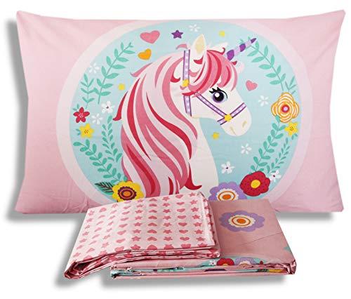 Hermet srl completo letto lenzuola unicorno una piazza lenzuolo sopra + sotto con angoli + federa 100% cotone